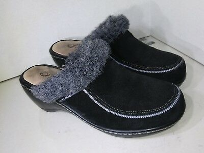Softwalk Soft Walk Black Suede Clogs Wedge Slide on Womes Size 10 - Softwalk Suede Clogs