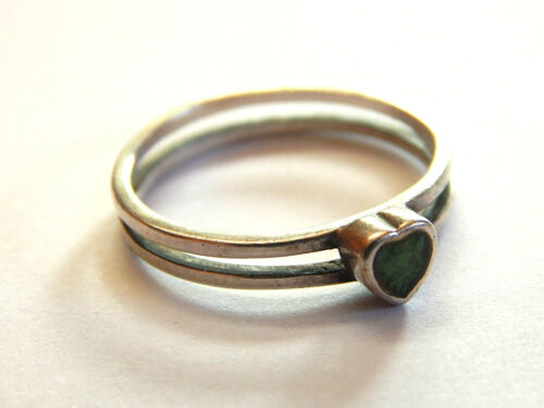 Vintage 925 Sterling Silver Green Heart Solitaire Ring Size 10 NV Navada Jewelry