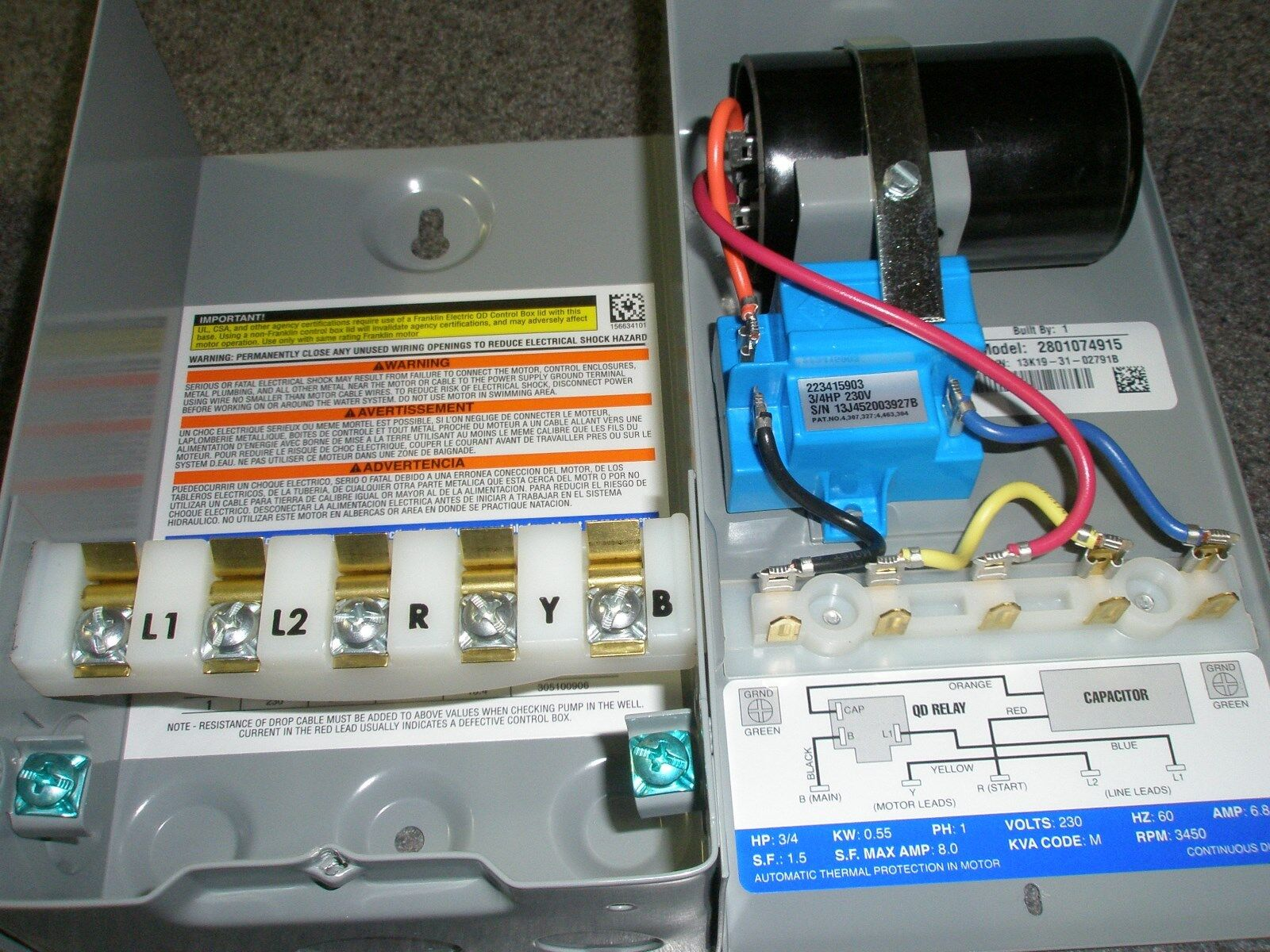 34 Hp 230v Franklin Qd Control Box Submersible Water Pump 2801074915 Wiring 3 4 New