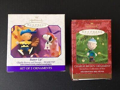 Snoopy Christmas Ornaments (2 Hallmark Ornaments Charlie Brown 1999 & Peanuts 50th Snoopy Christmas)