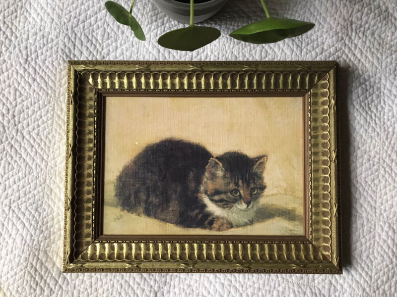 Vintage cat Kitten picture print framed Wooden gold Neutral Colors Realism