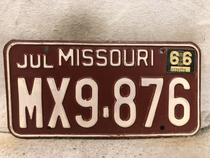 Vintage 1966 Missouri License Plate