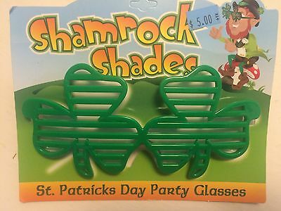 St Patricks Day Green Retro SHUTTER SHADES PARTY GLASSES leprechaun Irish clover - St Patricks Day Sunglasses