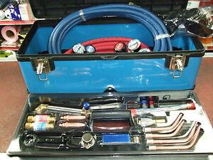 Oxygen & Acetylene gas Welding cutting equipment set Oxy/Acet c/w tool box case