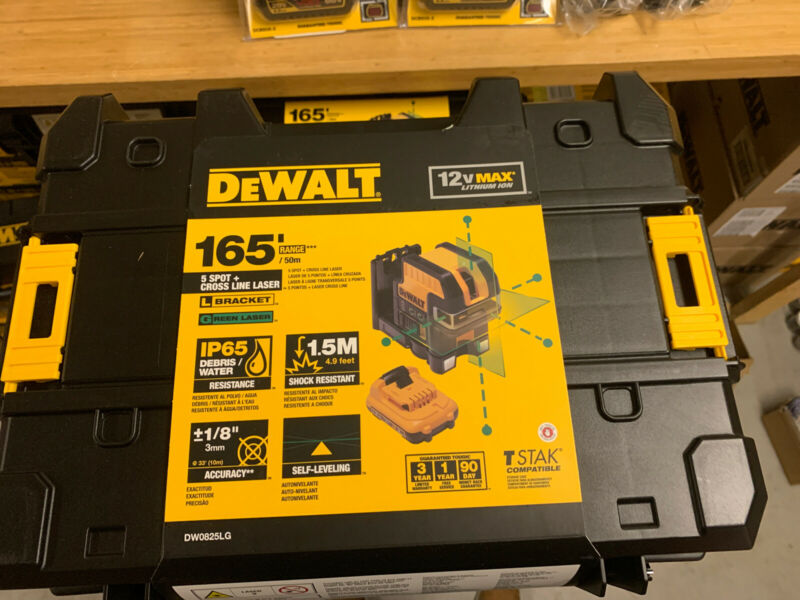 DEWALT DW0825LG 12V MAX 5-Spot Cross Line Green Laser