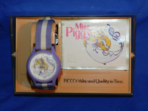 MISS PIGGY Muppets Watch Vintage Picco  1979 w/ Box (w217)