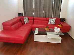 Red corner lounge sofa leather look 4 year old Wattle Grove Kalamunda Area Preview