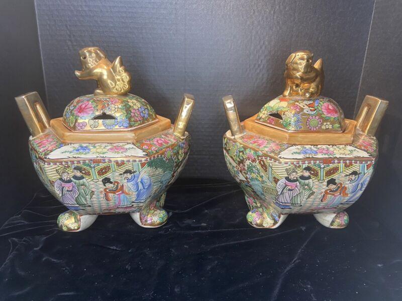 Porcelain Blank Hand Painted Macau Foo Dog Covered Footed Bowl Ginger Jar Pair