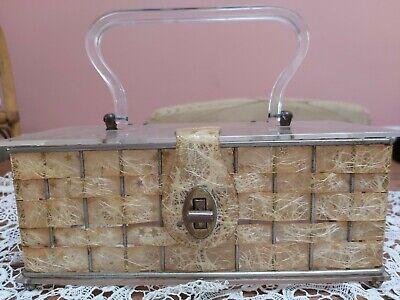 1950s Handbags, Purses, and Evening Bag Styles VINTAGE 1950s LUCITE BOX HANDBAG ORIGINAL collector $130.84 AT vintagedancer.com