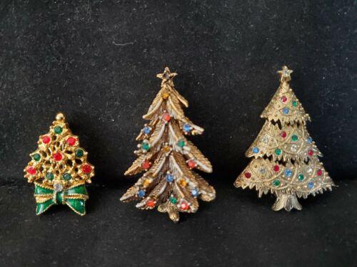 Vintage Christmas Tree Holiday Theme Pin Brooch Lot of 3