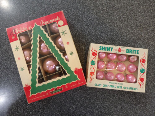 Lot of 24 Vintage Christmas Pink US Ornaments - 1950