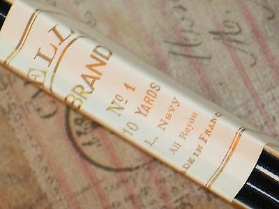 """10 yd Bolt Antique VTG 1/4"""" Navy Blue French Velvet Ribbon-Made In France-"""