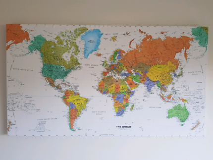 World map on canvas from kmart decorative accessories gumtree world map canvas 90cm50cm for sale gumiabroncs Image collections