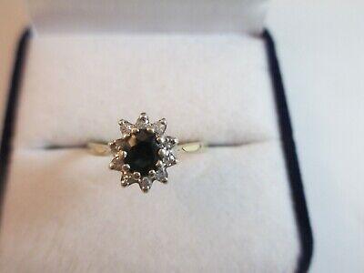 LOVELY VINTAGE 9ct GOLD SAPPHIRE & DIAMOND RING, BIRMINGHAM 1983 UK SIZE P  2.1g