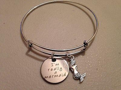 Mermaid Bracelet Charm Bangle Im Really A Mermaid Message Quote Silver Beach