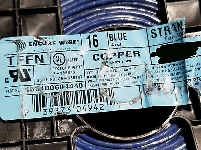 16 Awg Mtw Cable (Encore Wire & Cable  #16awg 26 Stranded TFFN/AWM/MTW Building Wire Blue)