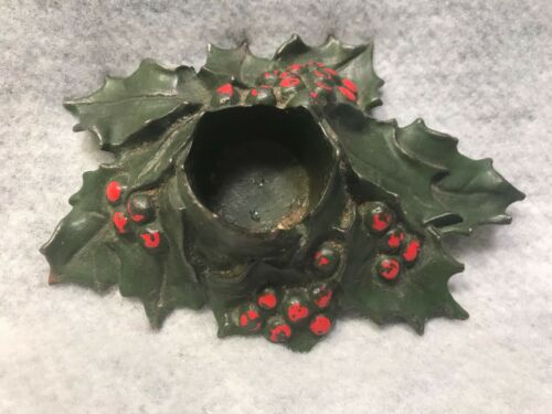 Antique 1921 Holly Leaves Cast Iron Christmas Tree Candle Holder