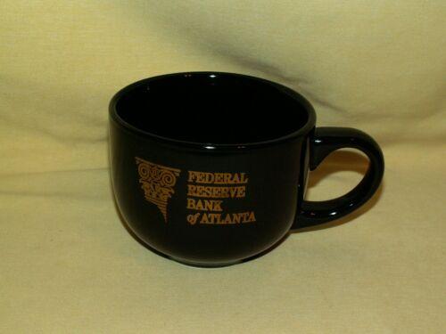 FEDERAL RESERVE MUG BANK ATLANTA BLACK GOLD LARGE COFFEE TEA CUP GA GEORGIA.