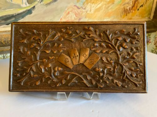 European Black Forest Hand Carved Wood Games Box Circa 1890