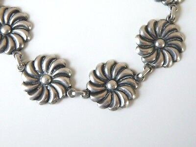 (Vintage Mid Century Sterling Silver Spiral Circle Pinwheel Disc Station Bracelet)