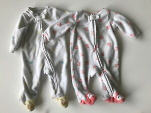 2 cute Carters Newborn Terry sleepers