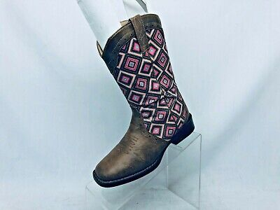 Roper Brand Brown Pink Glittery Western Cowboy Boots Girls Youth Size 2