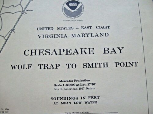 CHESAPEAKE BAY - WOLF TRAP TO SMITH POINT - NAVIGATIONAL MAP CHART NO. 12225