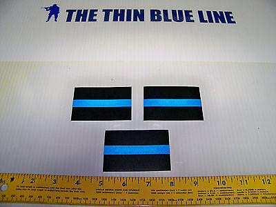 "Thin Blue Line 3M REFLECTIVE 2"" X 3"" DECAL STICKER SET OF 3 - FOP PBA Support"