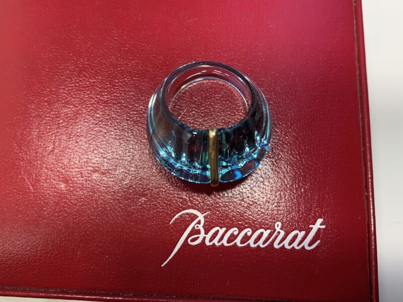 BACCARAT La Bague Pop Blue Crystal Ring 18KT GOLD Size 8