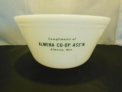 VINTAGE FEDERAL MILK GLASS BOWL ADVERTISING ALMENA CO-OP ASS'N ALMENA, WIS.
