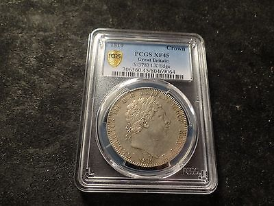 1819 PCGS XF-45 George Great Britain Silver Crown Empire England S-3787 LX EDGE