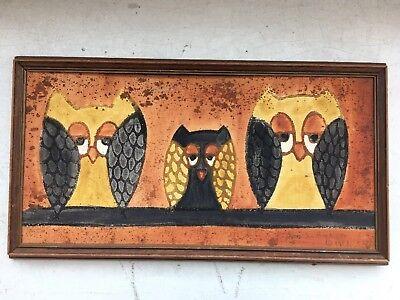 Vintage Lois S Becker 1967 Owl Sand Oil Painting Art Wood Frame Signed 70s 60s