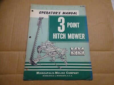 Minneapolis Moline 3 Point Hitch Mower Operation Book Manual S178 1954