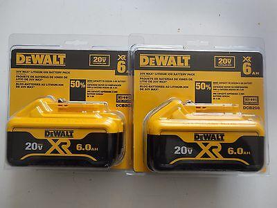 (2) DEWALT DCB206 20V 20 Volt max Li-Ion 6.0 AH battery packs New Replace DCB205