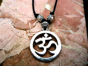 Silver OM Aum Pendant Necklace Black Cord Yoga Mantra Meditation Ohm Namaste