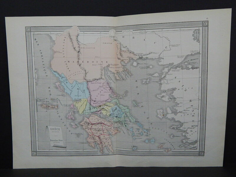 Antique Maps, French Atlas, c. 1870, Hand Color, Greece - Ancient S10