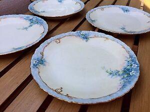 4 Antique 1891 Porcelain PLATES Blue Forget-Me-Not Gilt M R France Limoges 7 1/4