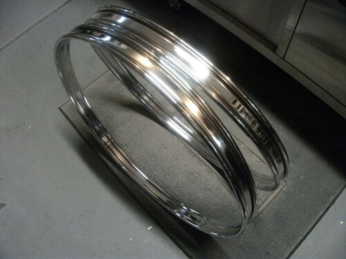 """NEW Pair 22"""" Chrome Steel Bass Drum Hoops/Rims. 1.75"""" Wide w/ 3/4"""" Inlays."""
