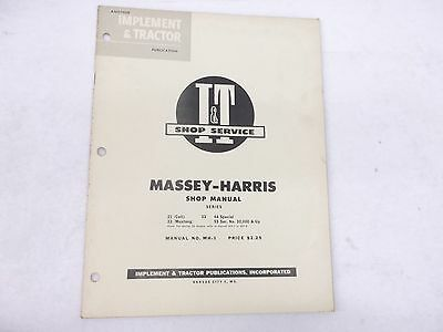 Massey Harris Model 21 Colt 23 Mustang 33 44 Special 55 Service Manual