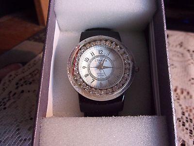 Strada Quartz Austrian Crystal Watch With Black Bracelet Cuff Band *NIB* Austrian Crystal Bangle Cuff Watch