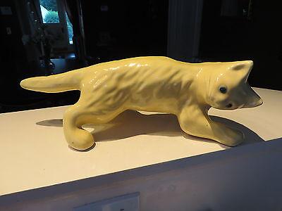 "VINTAGE CAMARK POTTERY 16"" Yellow CLIMBING CAT GREEN EYES Art Pottery NR"