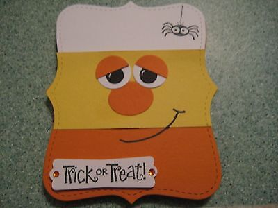 Happy Halloween Candy Corn Handmade Greeting Card- Choose premade or - Card Happy Halloween