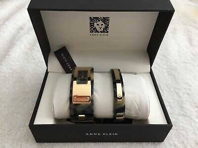 ANNE KLEIN BROWN/GRAY AND GOLD TONE MATCHING WATCH & BRACELET AK/2826TOST - NEW