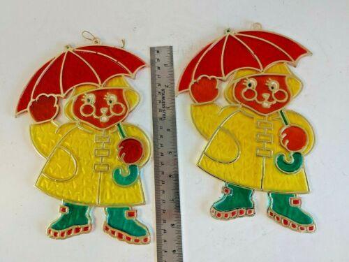 Vtg New Design Inc Plastic Faux Stained Glass Figure Raincoat Umbrella #15515