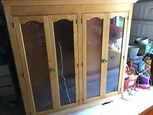 Pine china cabinet and hutch