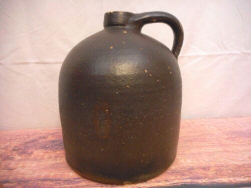 Antique Brown Jug Primitive Stoneware Food Storage Handle 1800