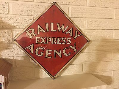 New Aluminum 12 x 12  Railway Express Agency Sign  Antiqued