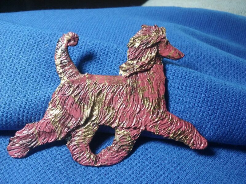 Wild colored Afghan Hound Pin trotting pewter Jewelry by Cindy A. Conter hound