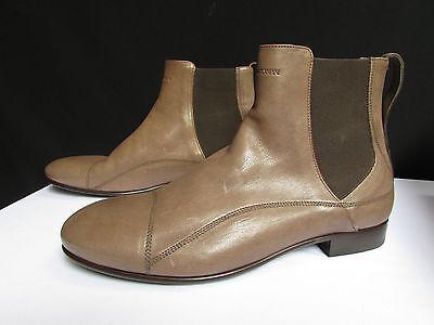 Nuevo Emporio Armani Hombre Botas Topo Marrón Claro Zapatos Cuero Clásico Moda