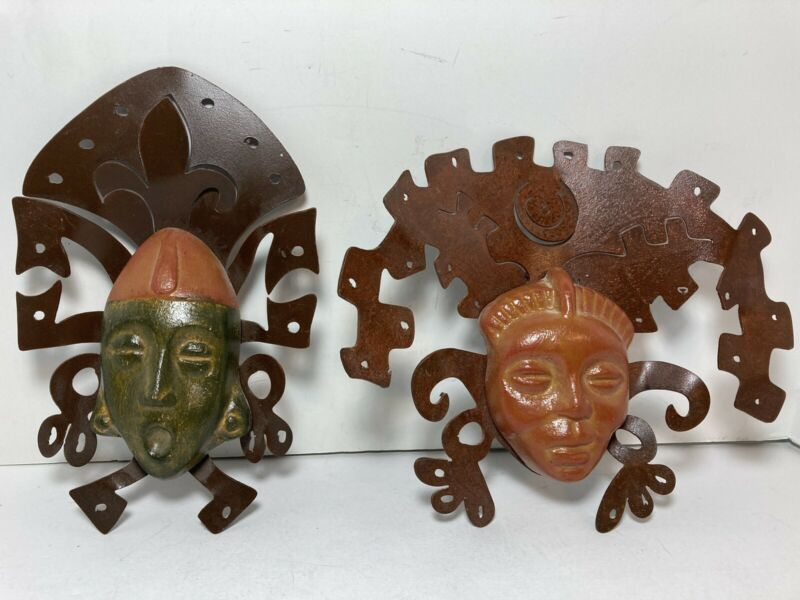 """Set Of 2 Mayan Aztec Style Clay Metal Mask Pottery 8.5"""" Home Wall Decor"""